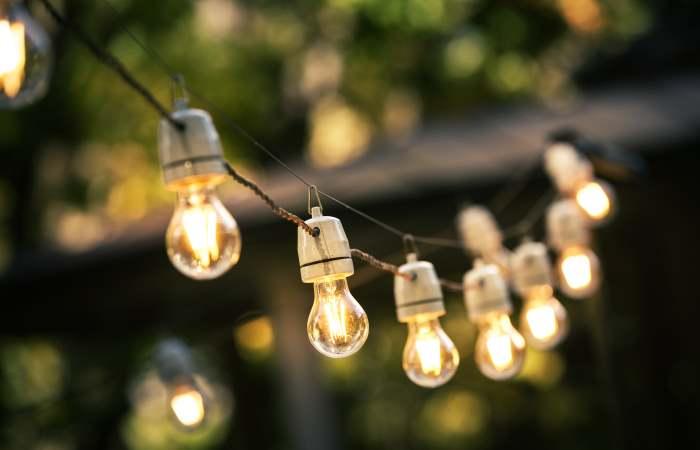 hanging outdoor string lights